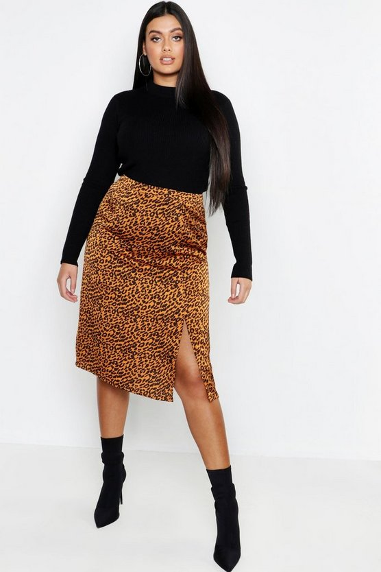 Plus Satin Leopard Split Skirt
