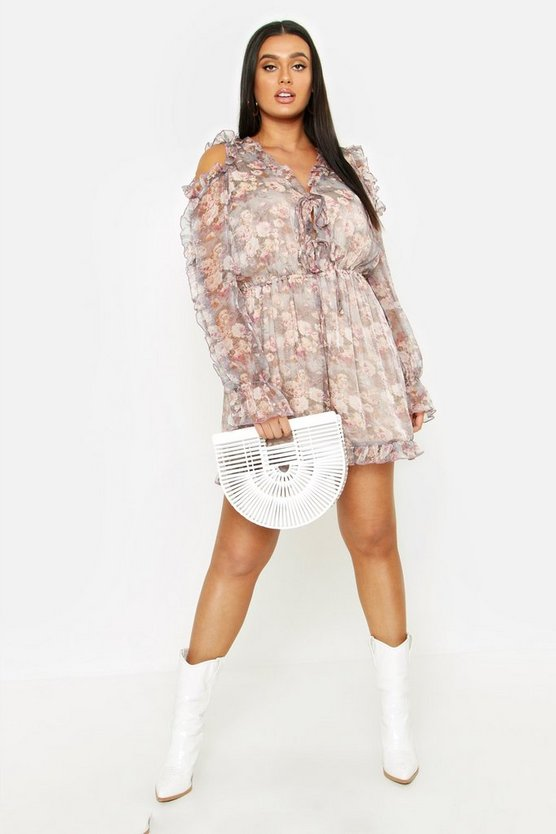 Womens Blush Plus Floral Ruffle Cold Shoulder Romper