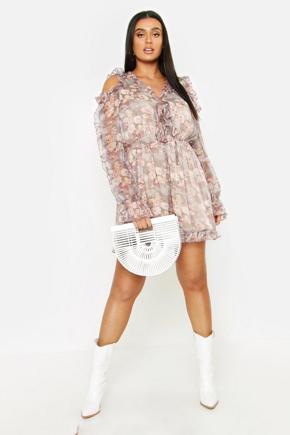 7773aabeae Plus Floral Ruffle Cold Shoulder Romper. Hover to zoom
