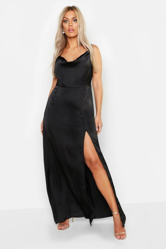 Womens Black Plus Satin Cowl Neck Split Detail Maxi Dress