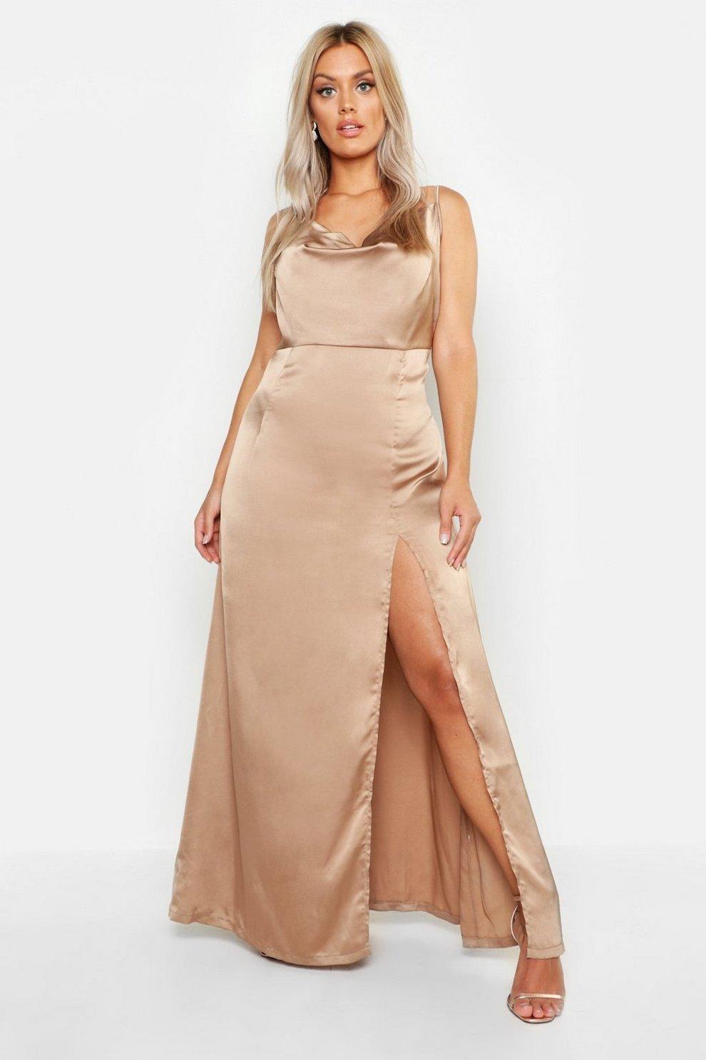 a94cb08f0f9 Womens Mocha Plus Satin Cowl Neck Split Detail Maxi Dress. Hover to zoom