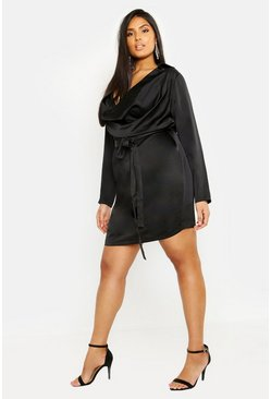 Womens Black Plus Satin Cowl Neck Tie Waist Shirt Dress