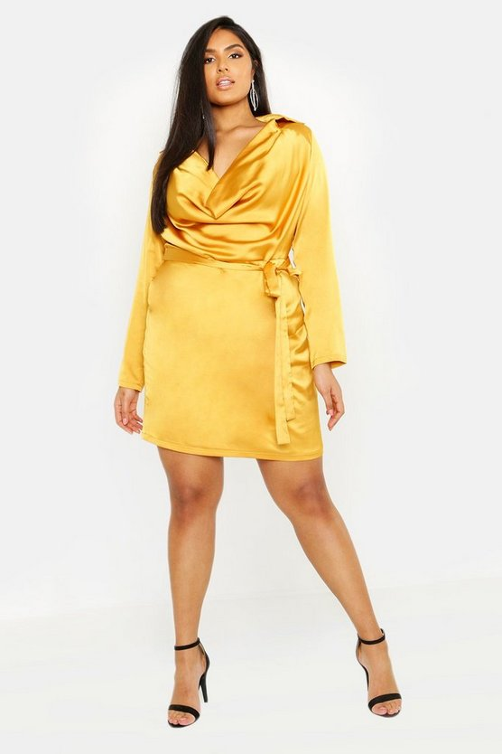 Womens Mustard Plus Satin Cowl Neck Tie Waist Shirt Dress