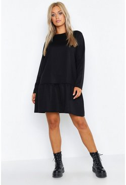 Womens Black Plus Drop Hem Crew Neck Sweat Dress