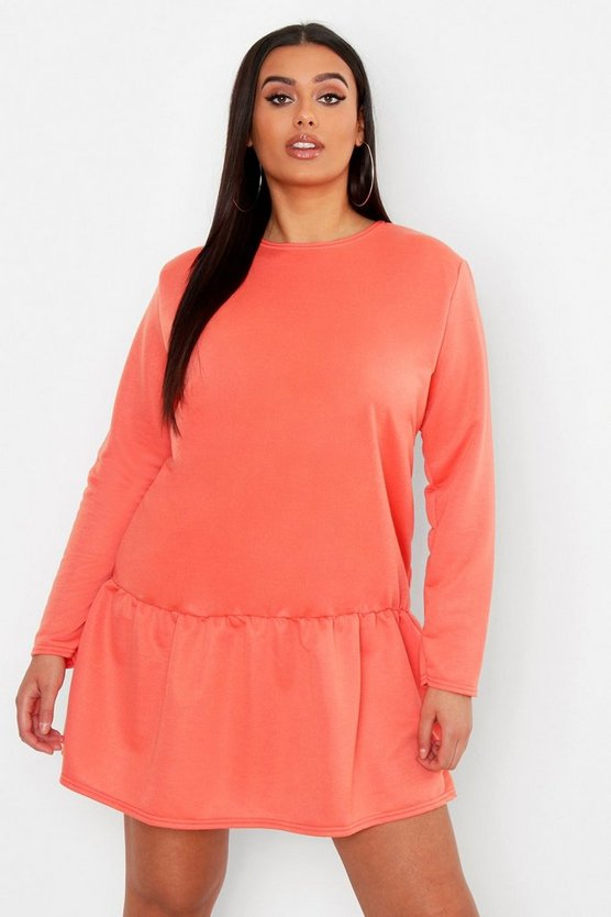 Womens Coral Plus Drop Hem Crew Neck Sweat Dress