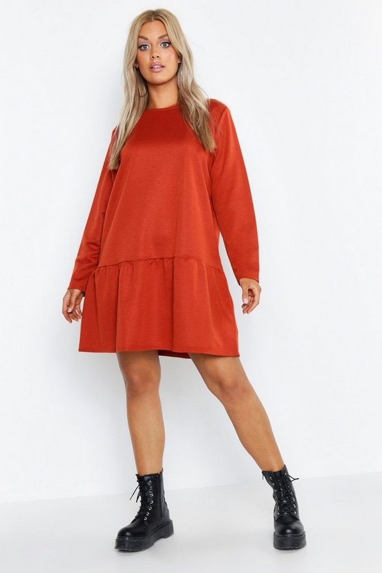 Plus Drop Hem Crew Neck Sweat Dress