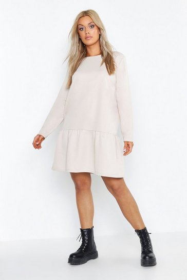 Womens Stone Plus Drop Hem Crew Neck Sweat Dress