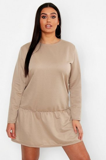 Womens Taupe Plus Drop Hem Crew Neck Sweat Dress