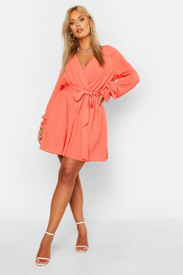 Coral Plus Wrap Tie Waist Skater Dress