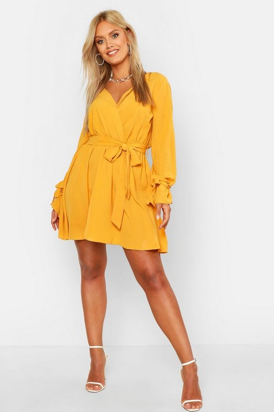 Womens Mustard Plus Wrap Tie Waist Skater Dress