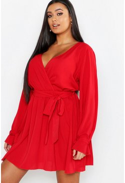 Red Plus Wrap Tie Waist Skater Dress