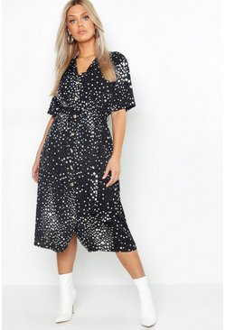 Black Plus Star Print Button Detail Midi Dress