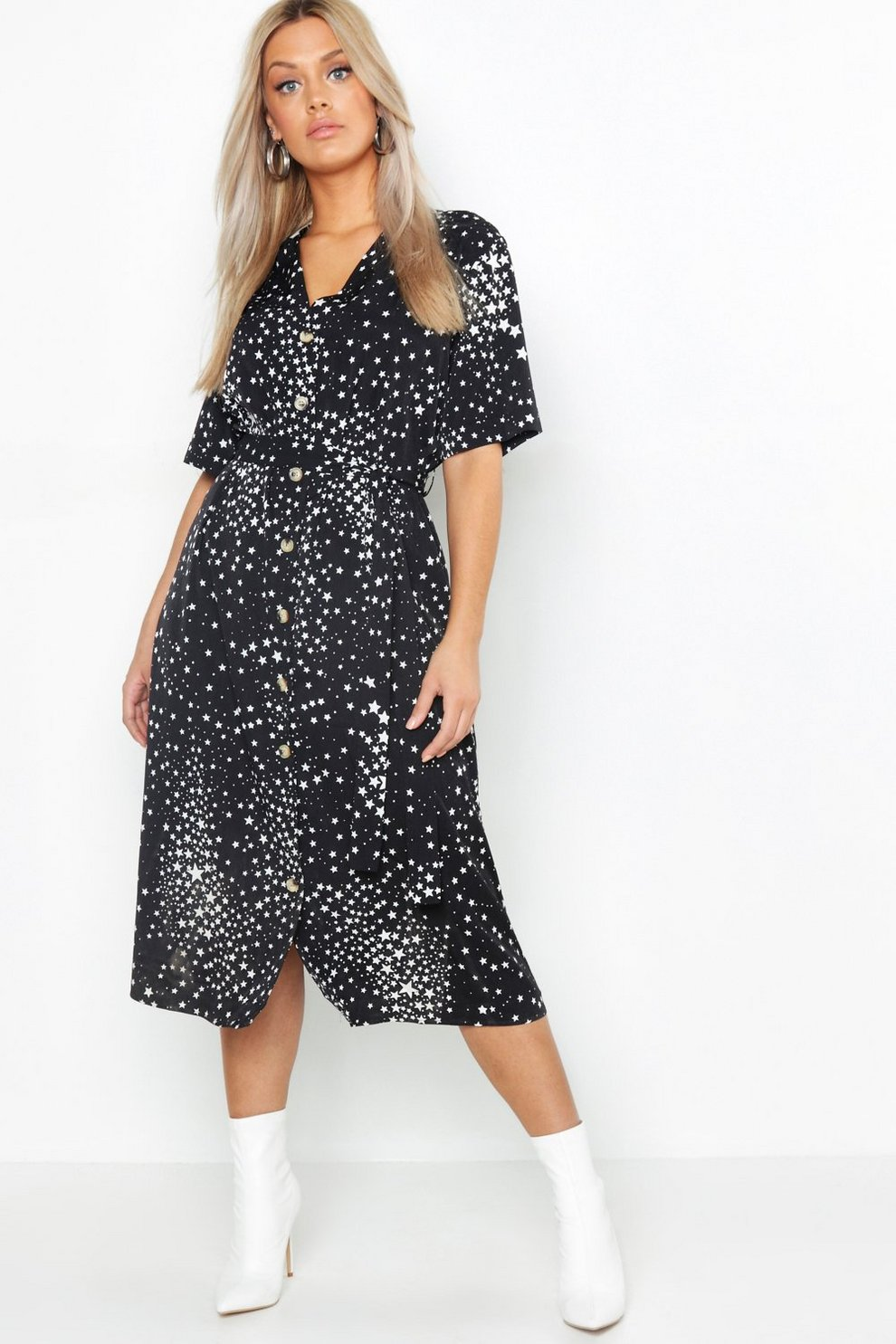 ee47f5604513 Womens Black Plus Star Print Button Detail Midi Dress