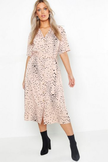 Womens Blush Plus Star Print Button Detail Midi Dress