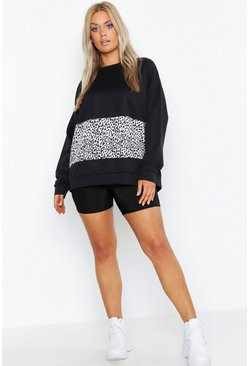 Womens Black Plus Leopard Insert Oversized Sweat