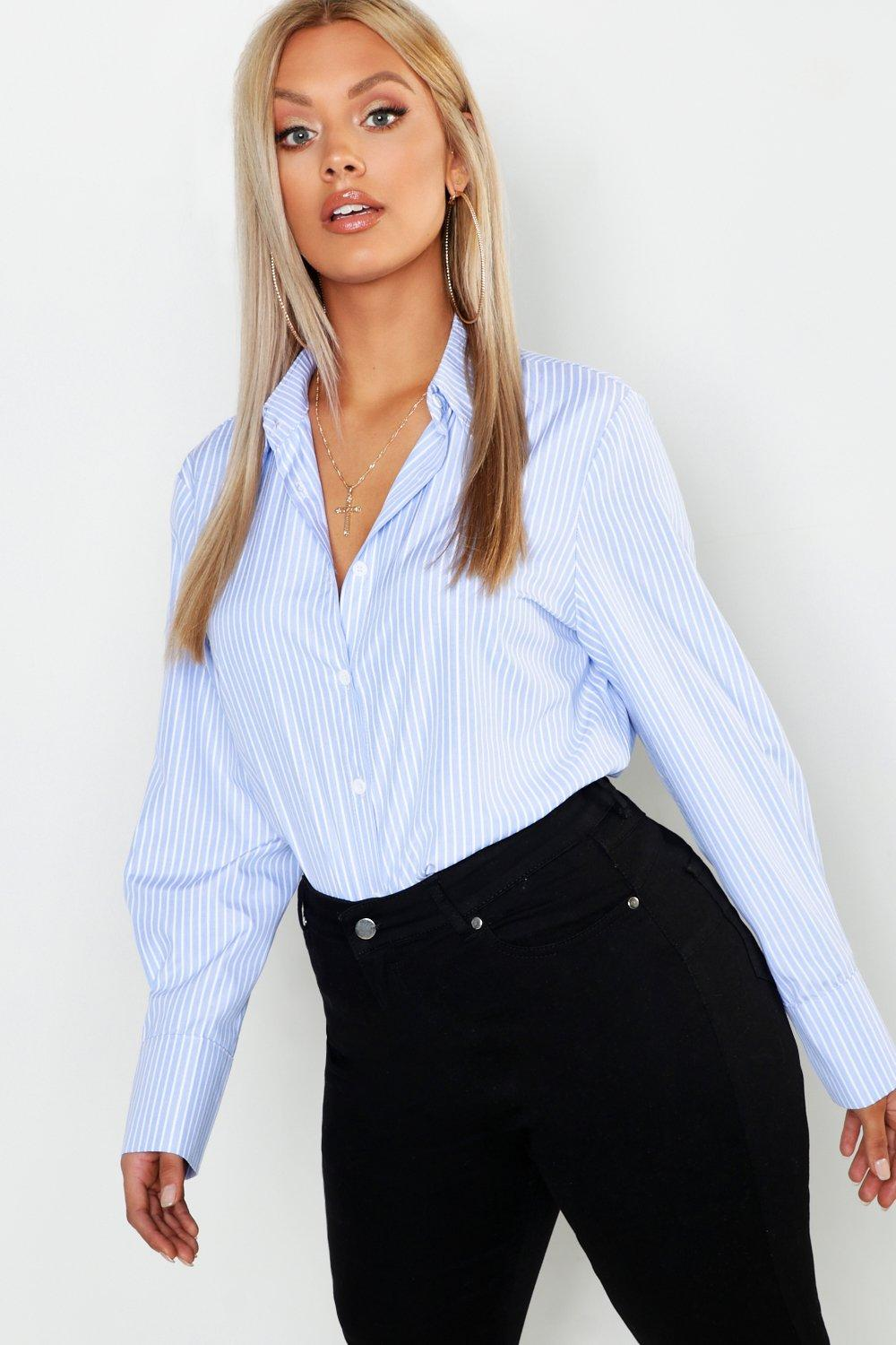 Plus Stripe Cotton Oversized Boyfriend Shirt