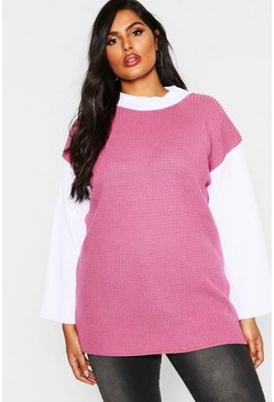 Womens Blush Plus Colour Block High Neck Jumper