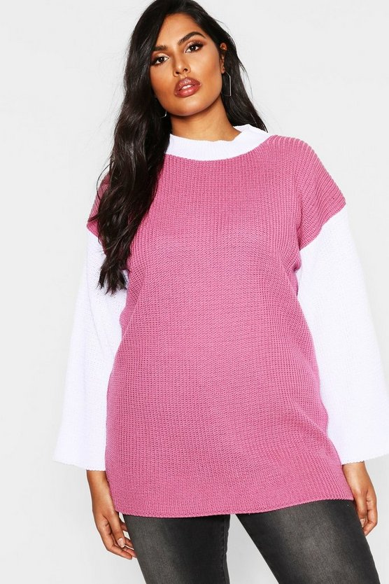 Womens Blush Plus Colour Block High Neck Sweater