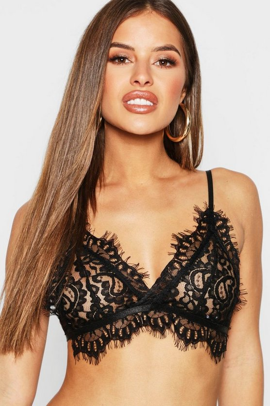 Womens Black Petite Fine Eyelash Lace Bralet