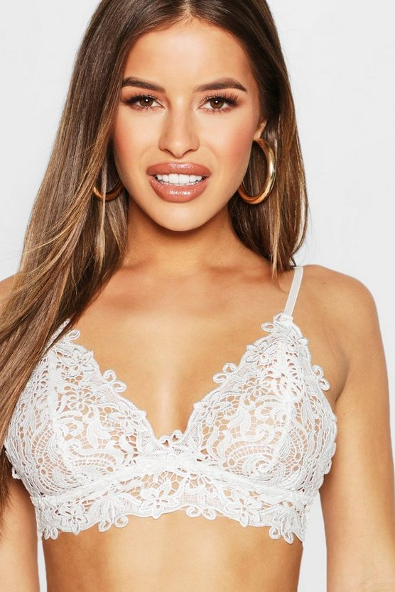 Womens Grey Petite Premium Metallic Corded Lace Bralet
