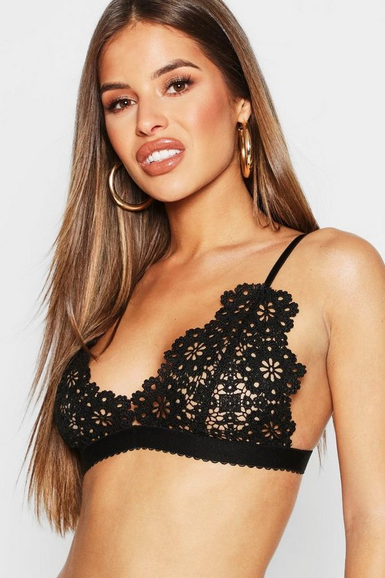 Womens Black Petite Crochet Lace Bralet