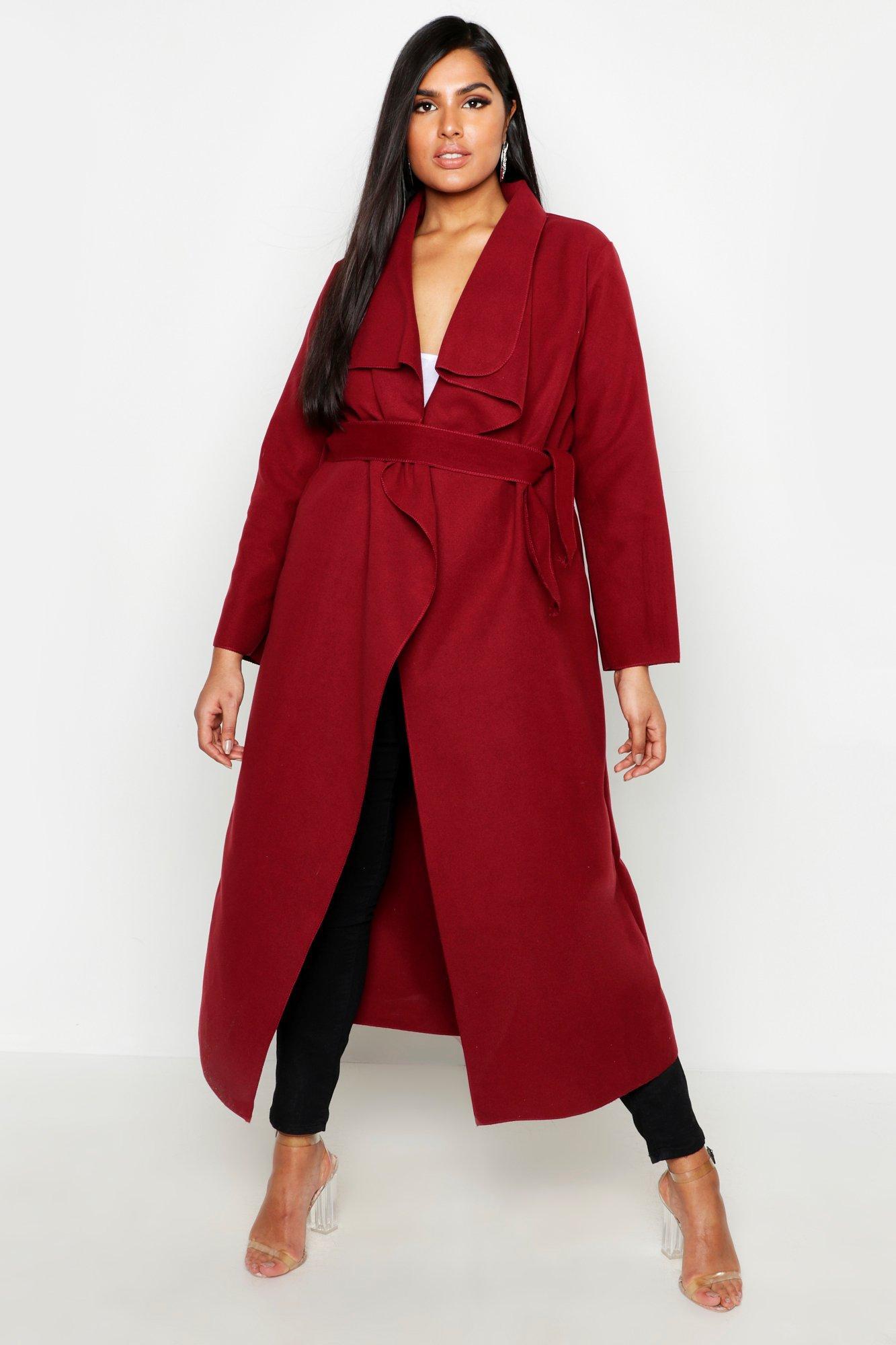 Plus Maxi Length Wool Look Wrap Coat