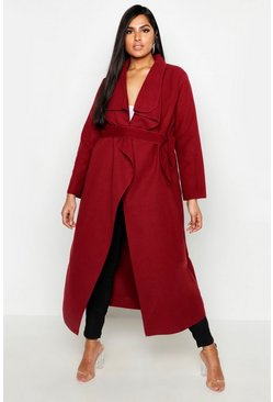 Womens Berry Plus Maxi Length Wool Look Wrap Coat
