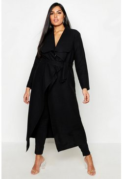 Black Plus Maxi Length Wool Look Wrap Coat