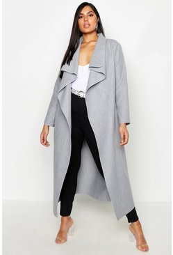 Womens Grey Plus Maxi Length Wool Look Wrap Coat