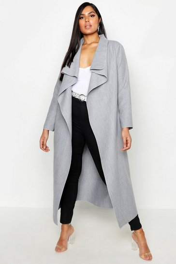 Grey Plus Maxi Length Wool Look Wrap Coat