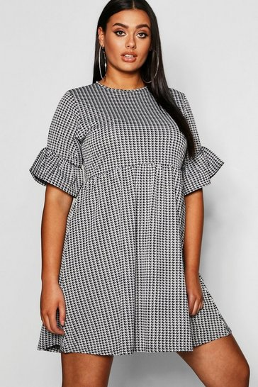 Womens Black Plus Dogtooth Frill Smock Dress