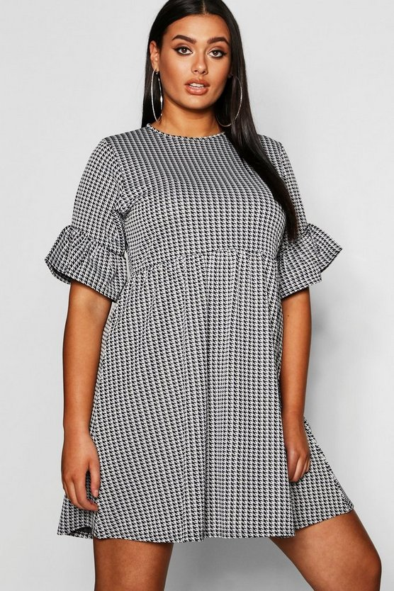Plus Dogtooth Frill Smock Dress
