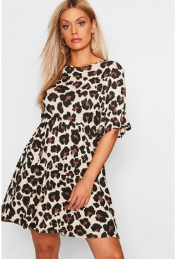 Womens Tan Plus Leopard Print Smock Dress