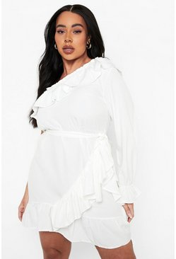 Ivory Plus One Shoulder Ruffle Tie Waist Dress