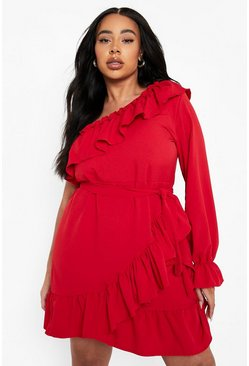 Red Plus One Shoulder Ruffle Tie Waist Dress