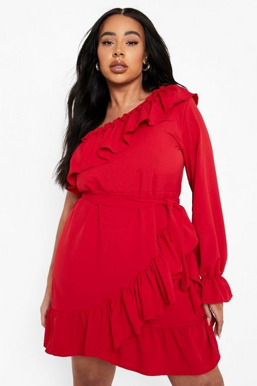 Womens Red Plus One Shoulder Ruffle Tie Waist Dress