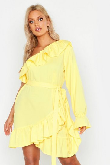 Womens Yellow Plus One Shoulder Ruffle Tie Waist Dress