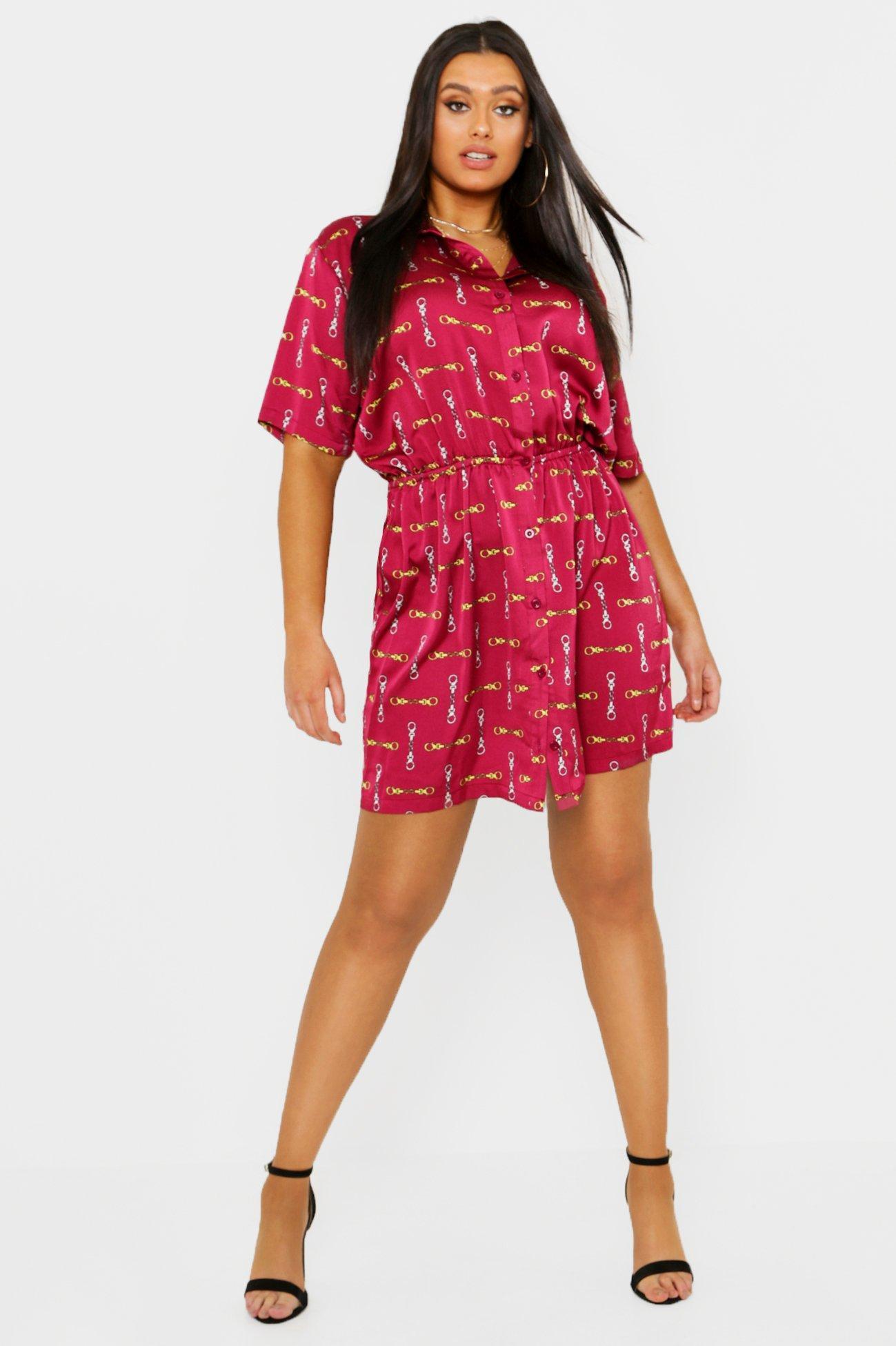 Plus Satin Chain Print Short Sleeve Shirt Dress