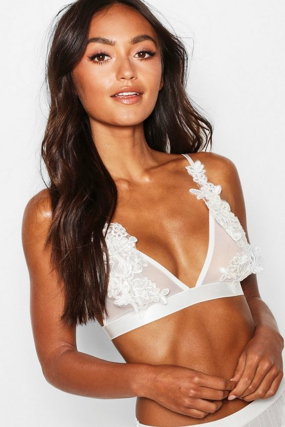 Womens White Petite Lace Flower Detail Mesh Bralet