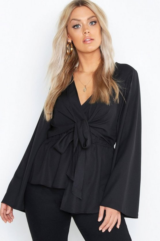Black Plus Twist Front Blouse