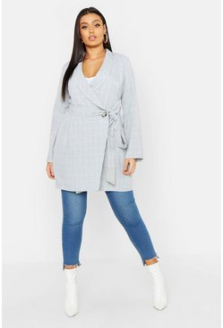 Womens Grey Plus Check Belted Blazer Dress