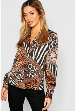 Womens Stone Petite Animal Print Long Sleeve Shirt