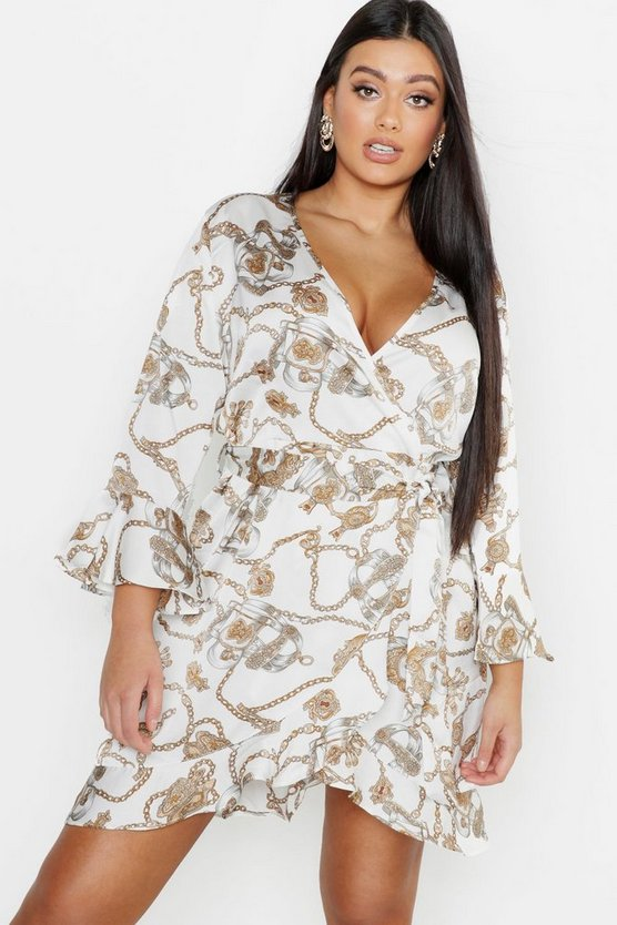 Womens Plus Satin Chain print Ruffle Wrap Dress