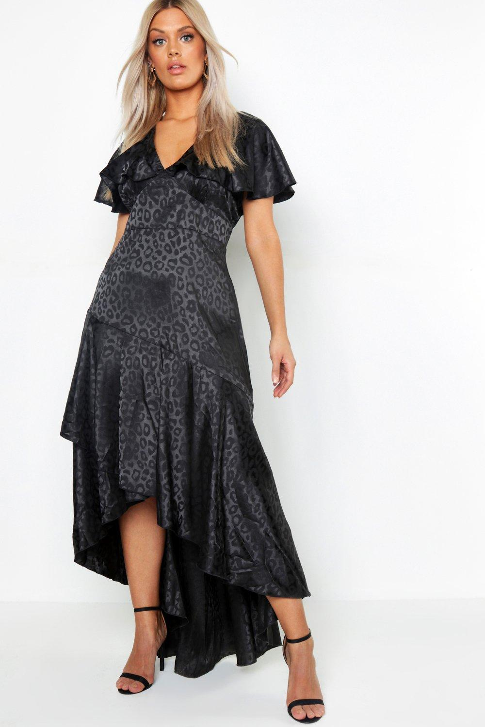 Plus Satin Jaquard Leopard Ruffle Maxi Dress