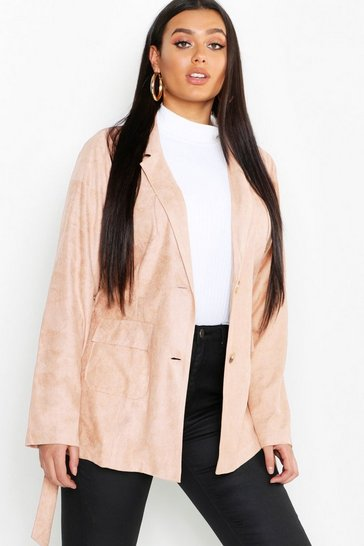 Womens Plus Suede Pocket Detail Belted Blazer