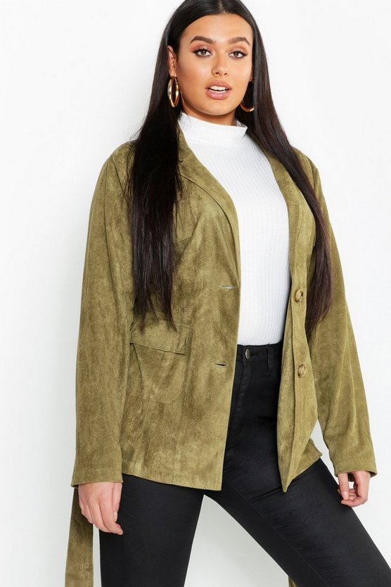 Womens Khaki Plus Suede Pocket Detail Belted Blazer