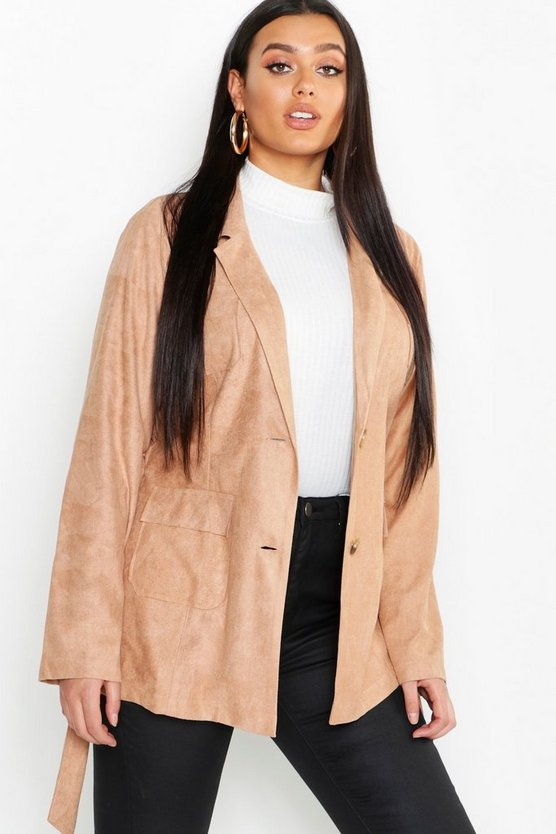 Womens Tan Plus Suede Pocket Detail Belted Blazer