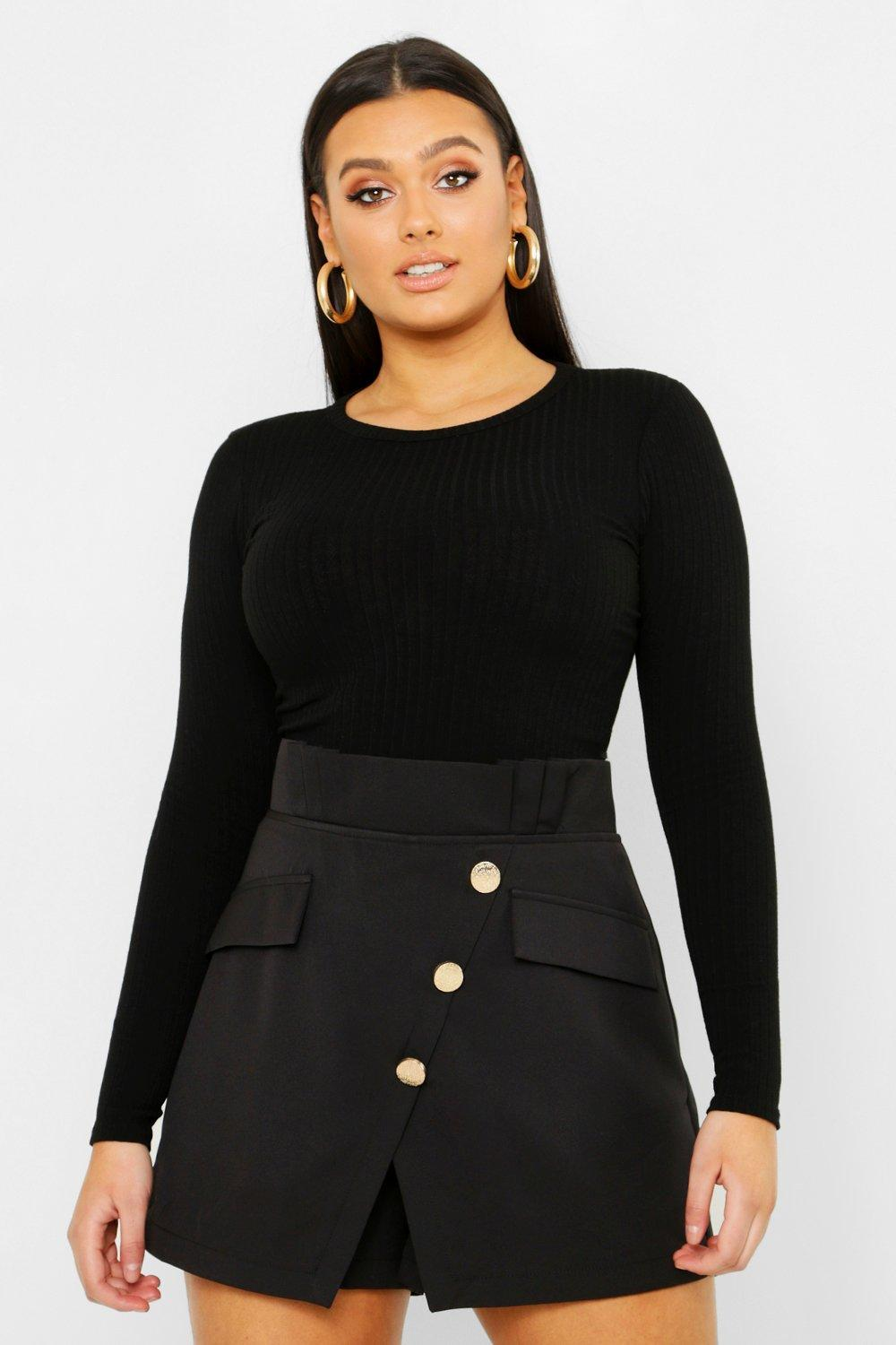 Plus Gold Button Tailored Skort
