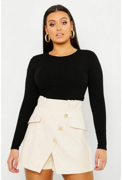 Womens Cream Plus Gold Button Tailored Skort