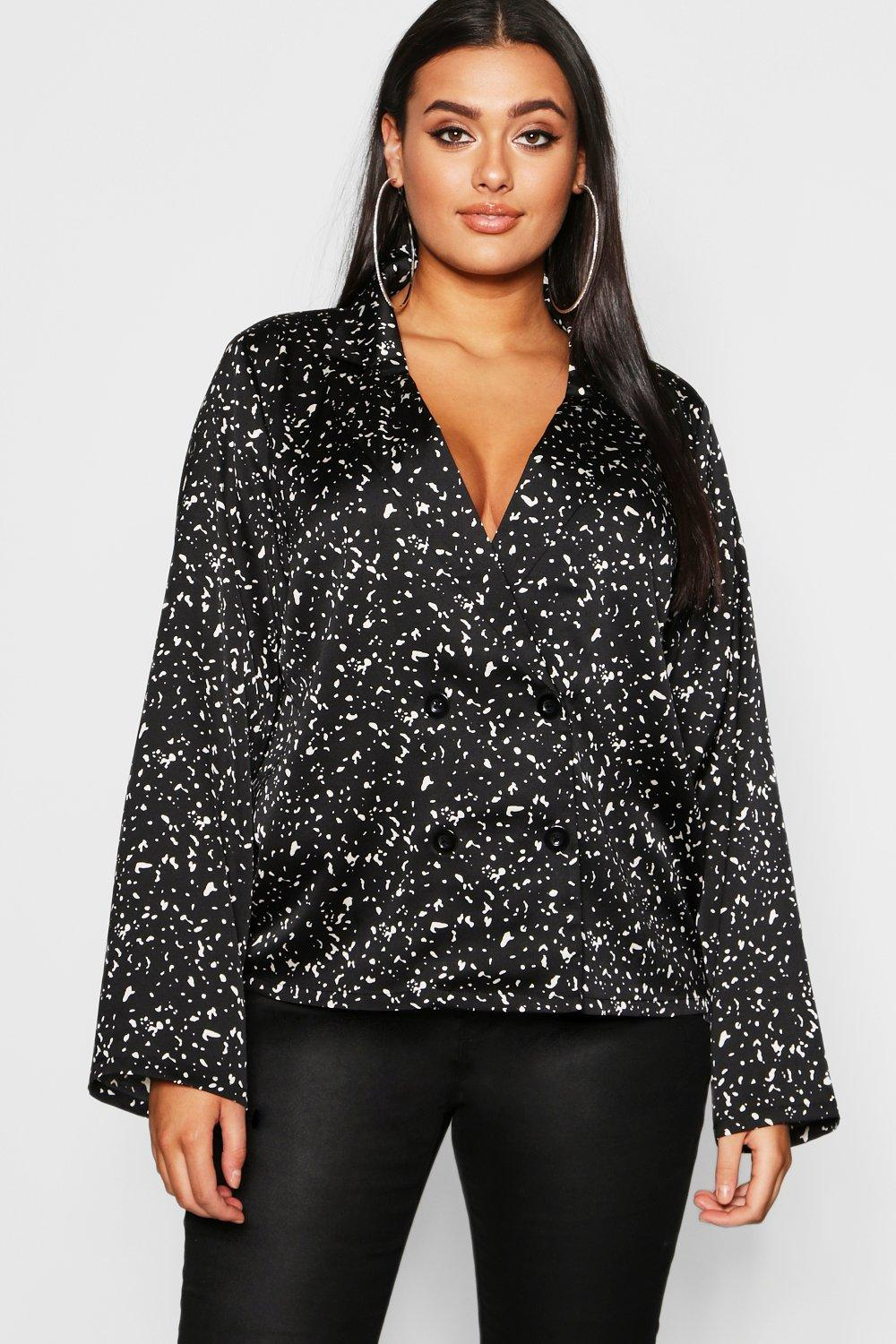 Plus Smudge Spot Revere Collar Satin Shirt